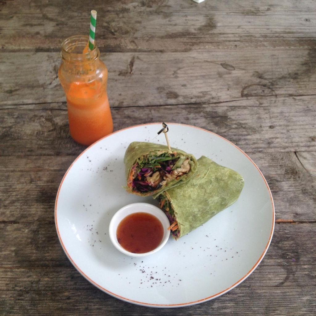 """Photo of Bamboo Buddha  by <a href=""""/members/profile/Necia11"""">Necia11</a> <br/>tofu wrap and carrot juice <br/> May 12, 2015  - <a href='/contact/abuse/image/30343/102045'>Report</a>"""