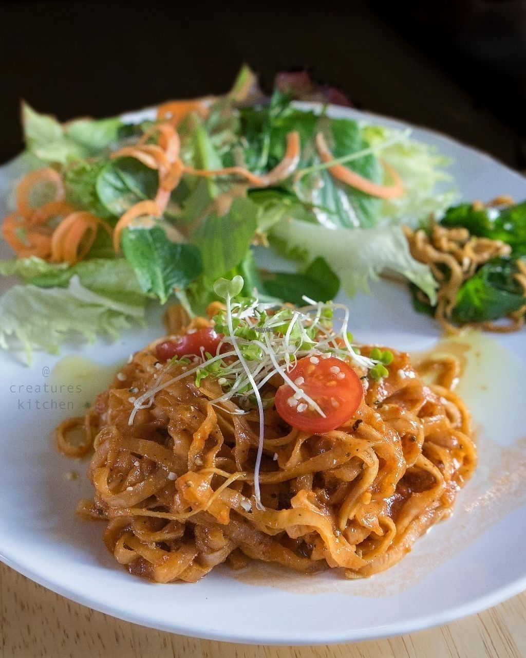 """Photo of Raw8 Cafe  by <a href=""""/members/profile/EmmaCebuliak"""">EmmaCebuliak</a> <br/>Raw pasta with tomato sauce and salad.  <br/> January 27, 2017  - <a href='/contact/abuse/image/30371/217773'>Report</a>"""
