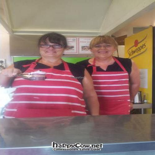 """Photo of CLOSED: Vegelicious  by <a href=""""/members/profile/AdrianaBellemans"""">AdrianaBellemans</a> <br/>Kate & I posing behind the counter. I'm the one with the cake :-) <br/> February 9, 2012  - <a href='/contact/abuse/image/30372/27983'>Report</a>"""