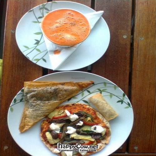 """Photo of CLOSED: Vegelicious  by <a href=""""/members/profile/vegan_simon"""">vegan_simon</a> <br/>All vegan: mushroom triangle ($2.50), spring roll ($1), mini antipasto pizza ($6), and carrot-apple-ginger juice ($4) <br/> February 24, 2012  - <a href='/contact/abuse/image/30372/28764'>Report</a>"""