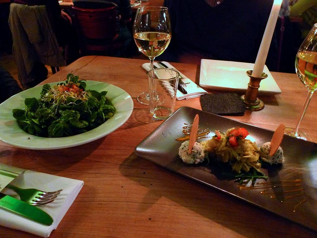 """Photo of Koerle und Adam  by <a href=""""/members/profile/Nina%20Organicwala.in"""">Nina Organicwala.in</a> <br/>Starters: Seasonal green salad (Feldsalat) on the left, and cashew creamcheese with vegetables on the right <br/> June 1, 2015  - <a href='/contact/abuse/image/30379/104354'>Report</a>"""