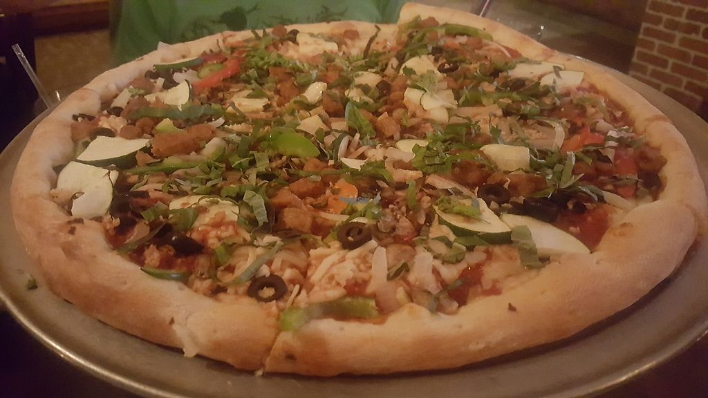 """Photo of Pizza Heaven Bistro  by <a href=""""/members/profile/VegManda"""">VegManda</a> <br/>The Vegetarian with Soy Sausage <br/> January 30, 2017  - <a href='/contact/abuse/image/30401/219518'>Report</a>"""