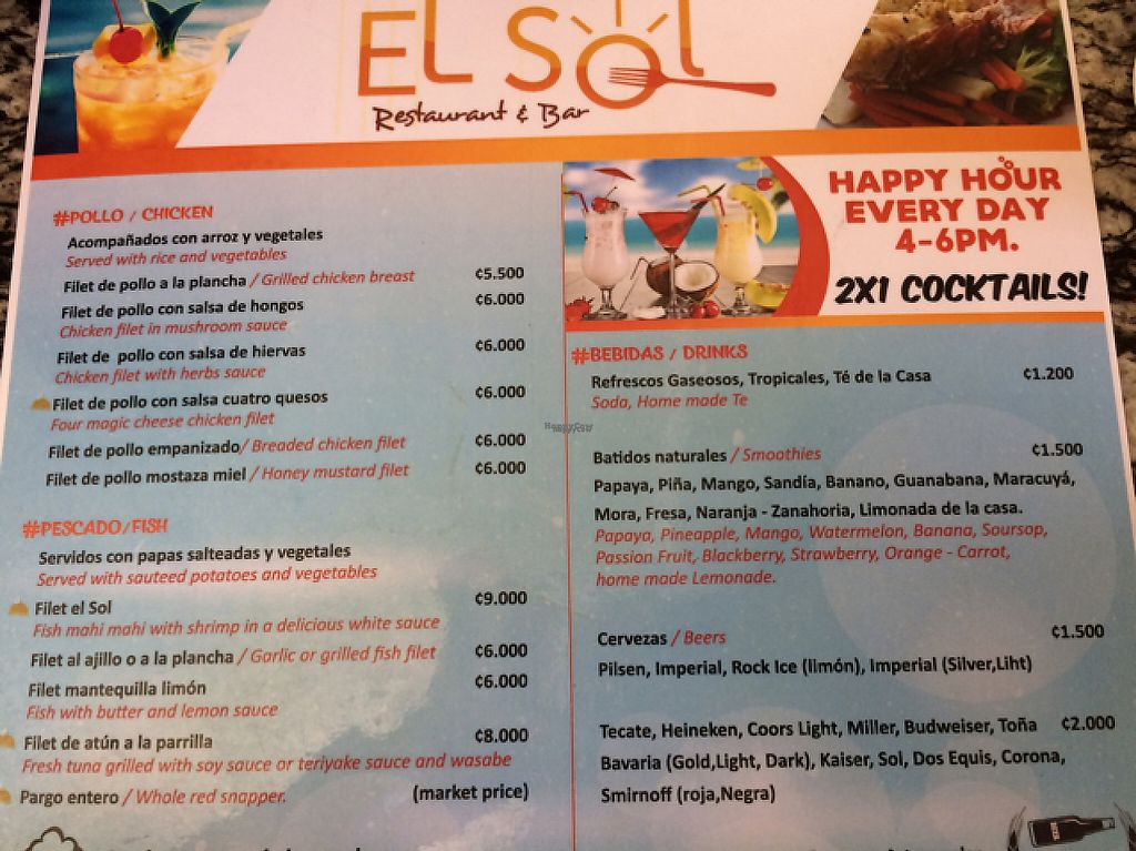 """Photo of El Sol Restaurant and Sports Bar  by <a href=""""/members/profile/pam_osorio"""">pam_osorio</a> <br/>menu  <br/> February 26, 2017  - <a href='/contact/abuse/image/30405/230806'>Report</a>"""