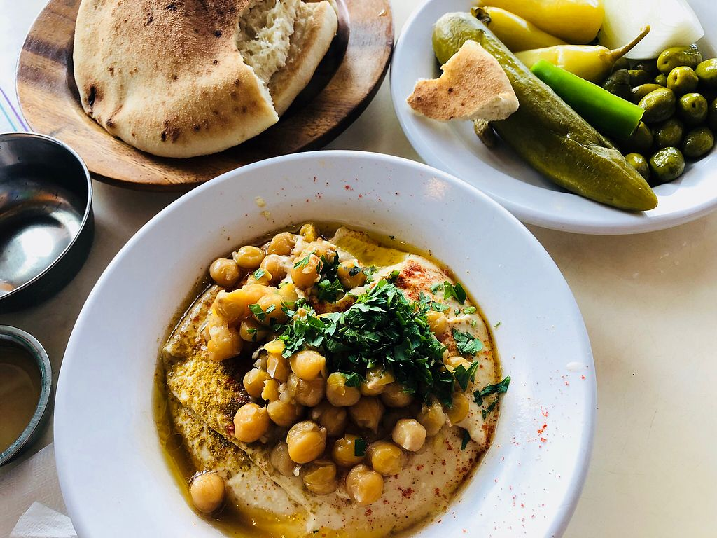 """Photo of Abu Dubi Hummus  by <a href=""""/members/profile/deriple"""">deriple</a> <br/>Hummus with chickpeas <br/> May 11, 2018  - <a href='/contact/abuse/image/30415/398283'>Report</a>"""