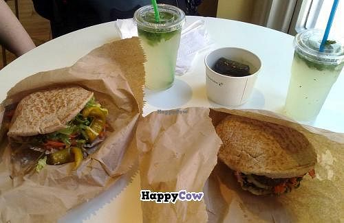 """Photo of Moorish Falafel Bar  by <a href=""""/members/profile/SplashWellyKid"""">SplashWellyKid</a> <br/>Moorish - Falafel In Pittas (left hand one Mexican & the other I forget), Dolma & home-made lemonade  <br/> October 9, 2013  - <a href='/contact/abuse/image/30466/56457'>Report</a>"""