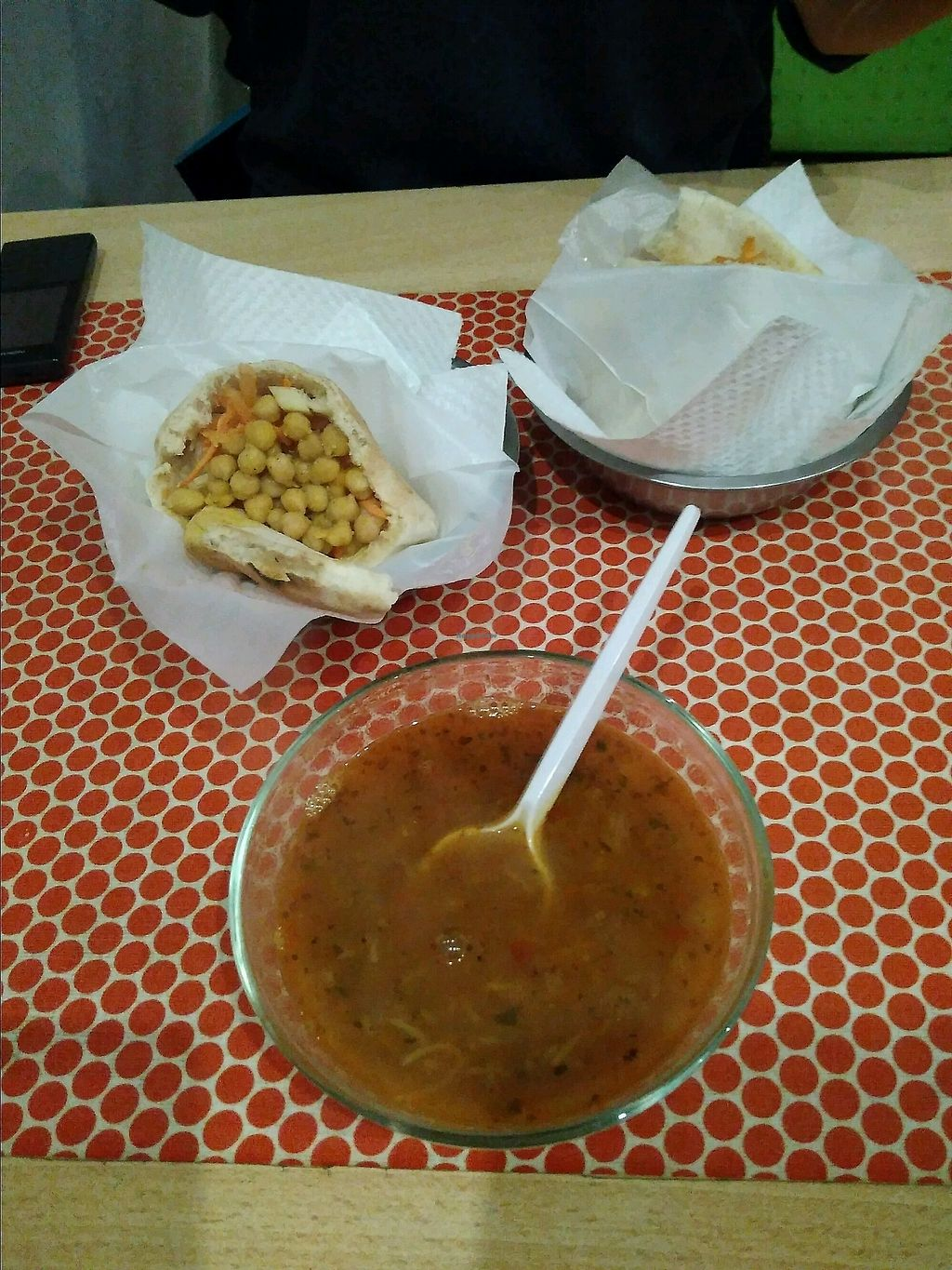 """Photo of TiK TaK Hummus Bar  by <a href=""""/members/profile/RobertBosy"""">RobertBosy</a> <br/>pita with chickpeas & falafel & red lentil soup <br/> November 13, 2017  - <a href='/contact/abuse/image/30467/325368'>Report</a>"""