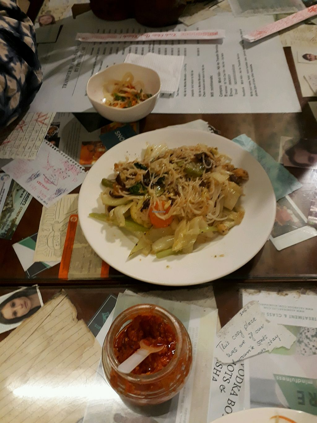 """Photo of Minh Hien Quan Chay  by <a href=""""/members/profile/SaffireBlack"""">SaffireBlack</a> <br/>Sauteed noodle with veg and mushroom. Delicious chilli sauce as well <br/> November 26, 2017  - <a href='/contact/abuse/image/30597/329405'>Report</a>"""