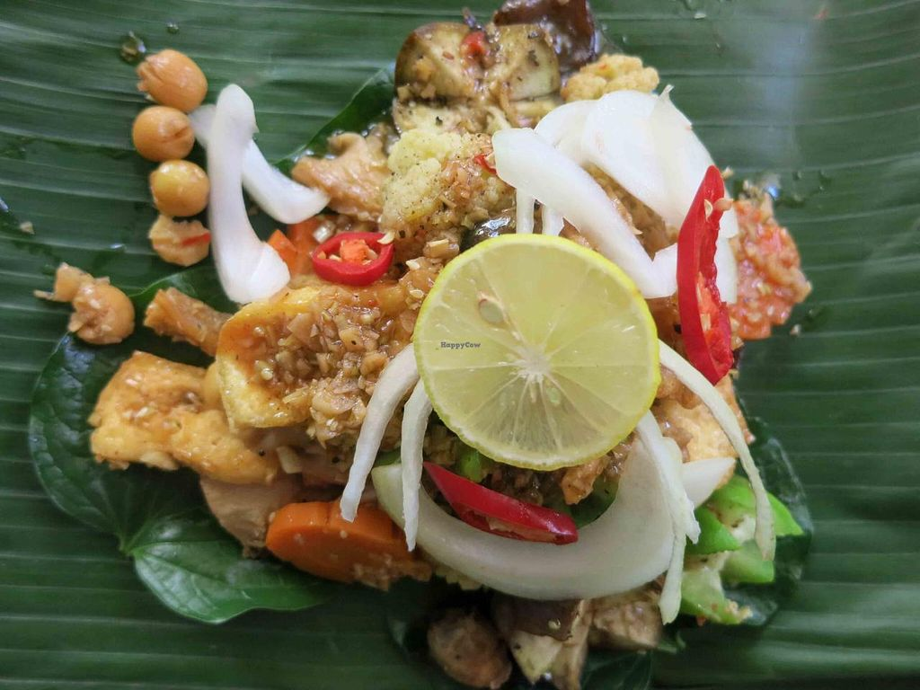 """Photo of Minh Hien Quan Chay  by <a href=""""/members/profile/CassieN"""">CassieN</a> <br/>Mixed vegetables and rice in banana leaf - delicious <br/> February 9, 2014  - <a href='/contact/abuse/image/30597/64043'>Report</a>"""