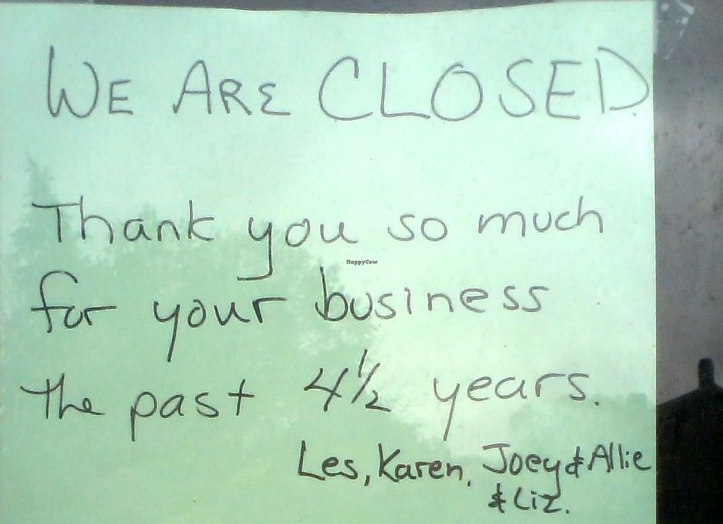 """Photo of CLOSED: Aardvark Kafe  by <a href=""""/members/profile/PennsyltuckyVeggie"""">PennsyltuckyVeggie</a> <br/>Taped to the front door (as per usual way of communicating), 5/1/2016. Lease was up 4/30/2016 according to their facebook page <br/> May 2, 2016  - <a href='/contact/abuse/image/30624/147063'>Report</a>"""