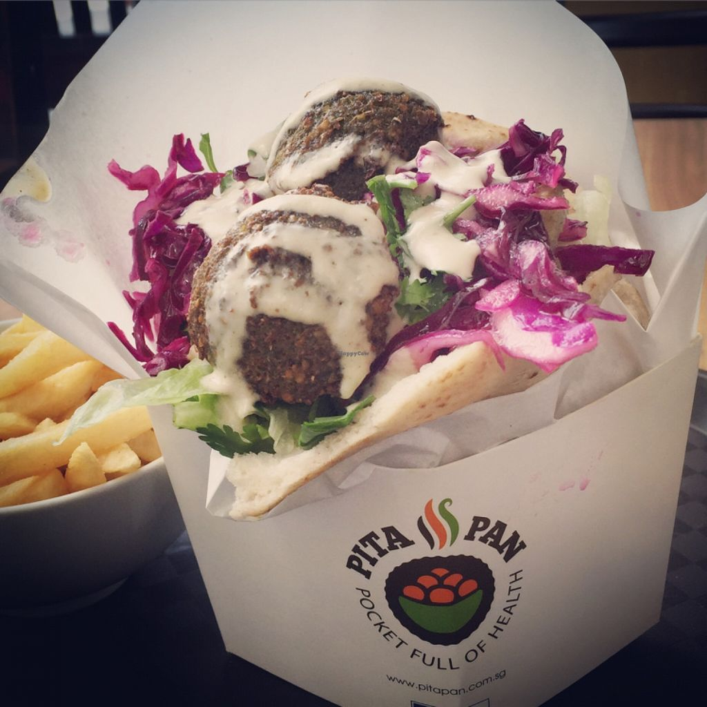"""Photo of CLOSED: Pita Pan  by <a href=""""/members/profile/petitevegan"""">petitevegan</a> <br/>Falafel sandwich with french fries <br/> December 20, 2015  - <a href='/contact/abuse/image/30649/129327'>Report</a>"""