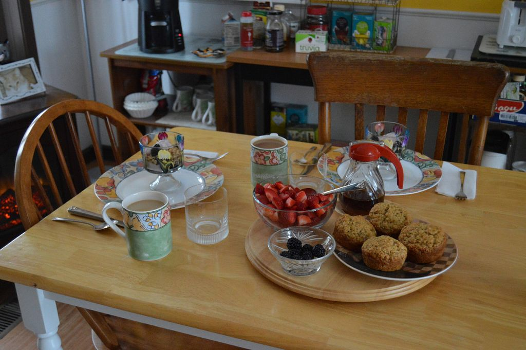 """Photo of The Ginger Cat B and B  by <a href=""""/members/profile/Vegan%20GiGi"""">Vegan GiGi</a> <br/>Yummy breakfast at Ginger Cat. Muffins, yogurt parfaits, fresh fruit, coffee and tea. Gita also made hash browns and waffles (not in picture) <br/> October 8, 2016  - <a href='/contact/abuse/image/30660/180601'>Report</a>"""