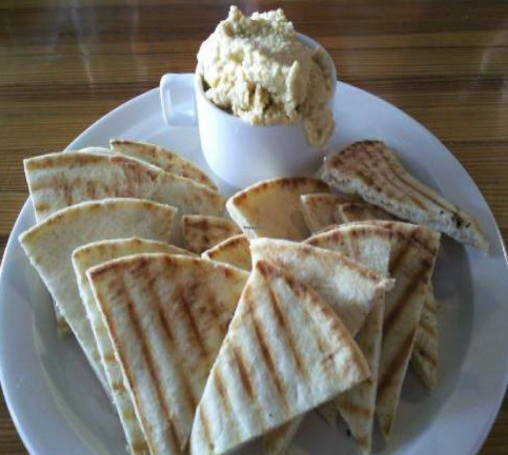 """Photo of Brew  by <a href=""""/members/profile/happycowgirl"""">happycowgirl</a> <br/>pita bread and plain hummus (red pepper hummus also available) <br/> February 20, 2012  - <a href='/contact/abuse/image/30678/204822'>Report</a>"""
