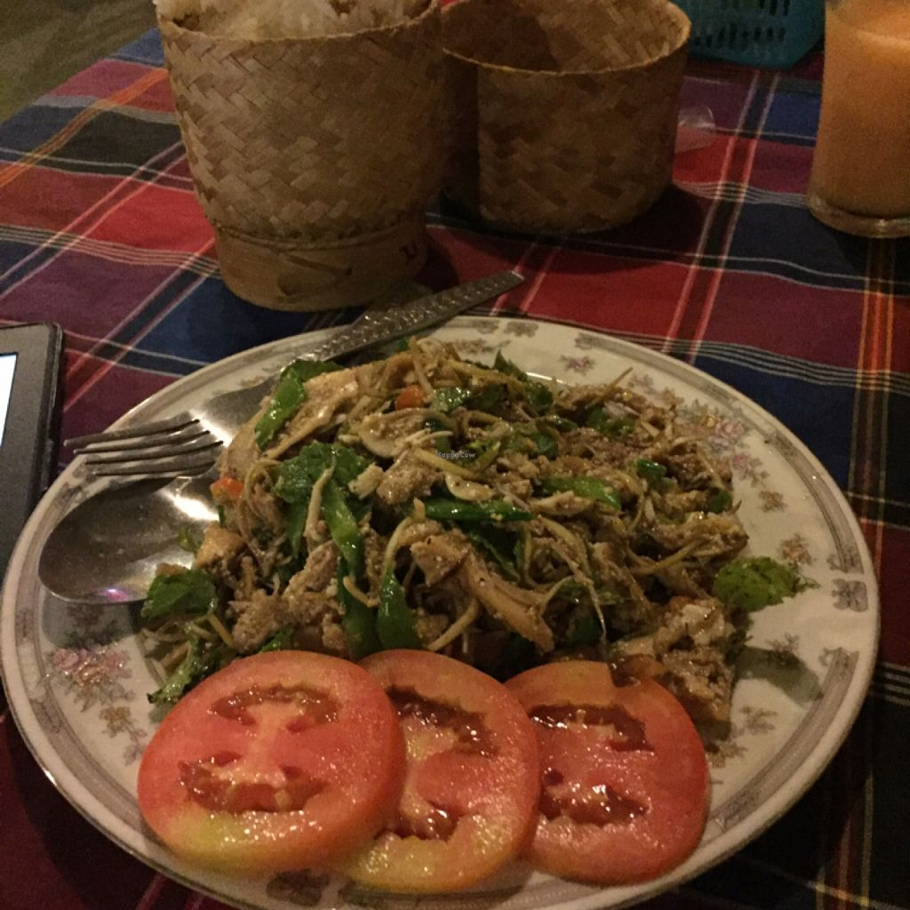 """Photo of Veggie Tables  by <a href=""""/members/profile/Lucas_plantbased"""">Lucas_plantbased</a> <br/>yummy dish (forgot the name but I asked the waiter for a engine Laotian dish and this is what he recommended) and it included a huge portion of sticky rice. I eat a lot normally and was really a stuffed after this.  <br/> May 19, 2016  - <a href='/contact/abuse/image/30679/149777'>Report</a>"""