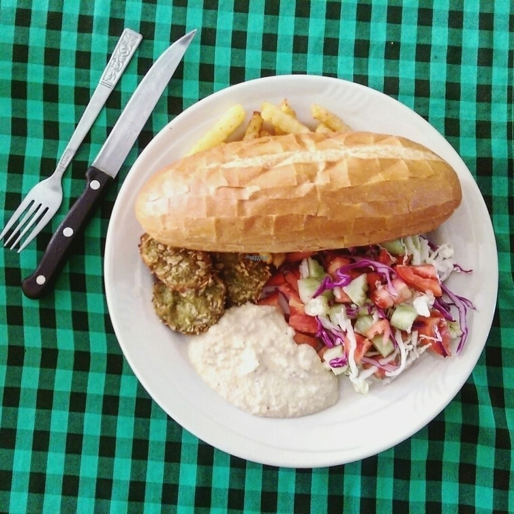 """Photo of Veggie Tables  by <a href=""""/members/profile/whatswithwendy"""">whatswithwendy</a> <br/>falafel with hummus, french fries, baguette and salad with lime.  <br/> December 16, 2016  - <a href='/contact/abuse/image/30679/201564'>Report</a>"""