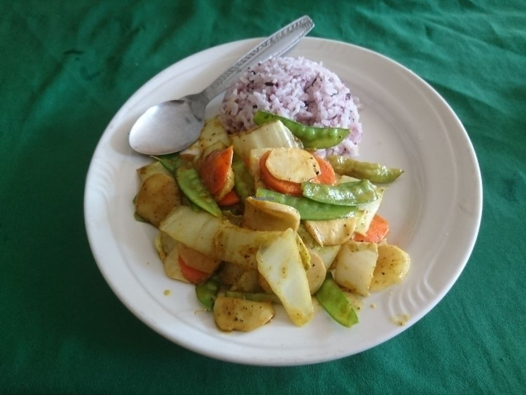 """Photo of Veggie Tables  by <a href=""""/members/profile/MarcusAbbott"""">MarcusAbbott</a> <br/>Vegan Laos vegies and rice  <br/> April 17, 2017  - <a href='/contact/abuse/image/30679/249236'>Report</a>"""