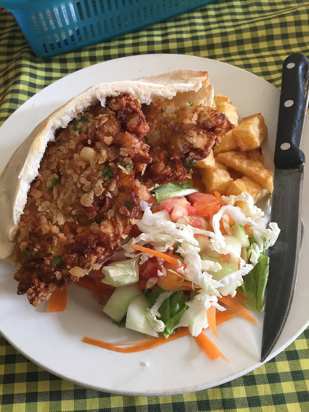 """Photo of Veggie Tables  by <a href=""""/members/profile/veganburrito____"""">veganburrito____</a> <br/>Mixed veg kebab with chips and salad <br/> July 16, 2017  - <a href='/contact/abuse/image/30679/280834'>Report</a>"""