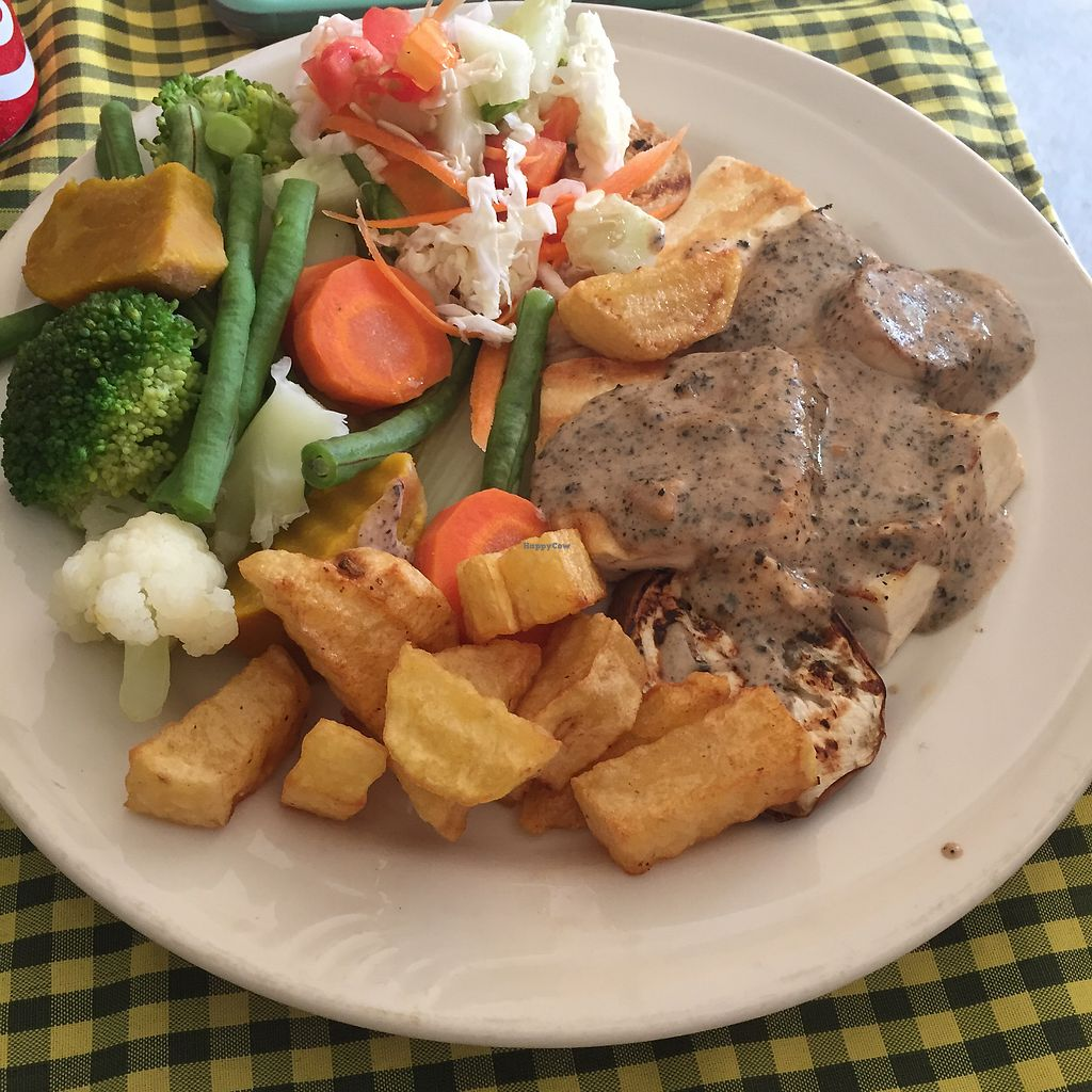 """Photo of Veggie Tables  by <a href=""""/members/profile/veganburrito____"""">veganburrito____</a> <br/>Tofu steak with pepper sauce <br/> July 16, 2017  - <a href='/contact/abuse/image/30679/280835'>Report</a>"""