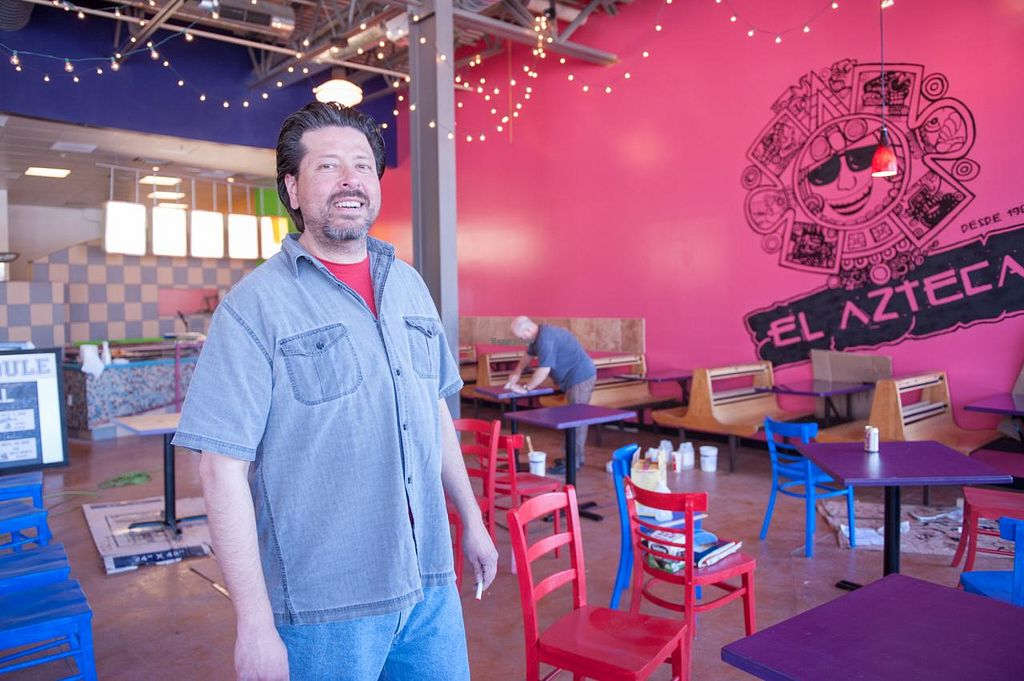 """Photo of CLOSED: El Azteca Mexican Taco Shop  by <a href=""""/members/profile/Meggie%20and%20Ben"""">Meggie and Ben</a> <br/>The owner, Carlos, in their new location on Bulldog Blvd <br/> January 11, 2014  - <a href='/contact/abuse/image/30687/62298'>Report</a>"""