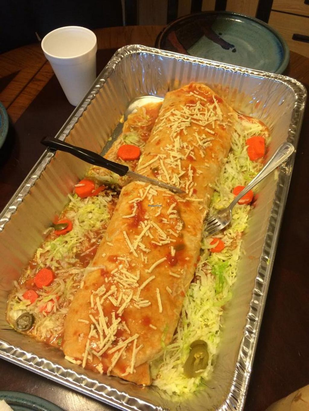 """Photo of CLOSED: El Azteca Mexican Taco Shop  by <a href=""""/members/profile/Meggie%20and%20Ben"""">Meggie and Ben</a> <br/>El Jefe burrito--made vegan! Enough to feed a whole party of people! <br/> August 16, 2014  - <a href='/contact/abuse/image/30687/77205'>Report</a>"""