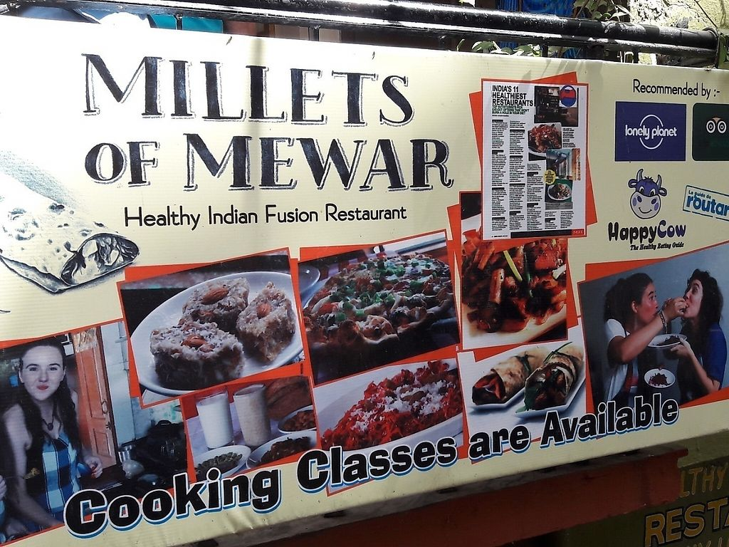 """Photo of Millets of Mewar  by <a href=""""/members/profile/Sonja%20and%20Dirk"""">Sonja and Dirk</a> <br/>front sign with Happy Cow icon <br/> March 27, 2017  - <a href='/contact/abuse/image/30697/241865'>Report</a>"""
