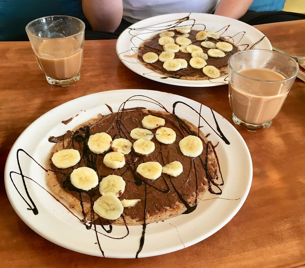 """Photo of Millets of Mewar  by <a href=""""/members/profile/CamilaSilvaL"""">CamilaSilvaL</a> <br/>Vegan pancakes with Nutella and masala tea  <br/> March 6, 2018  - <a href='/contact/abuse/image/30697/367489'>Report</a>"""