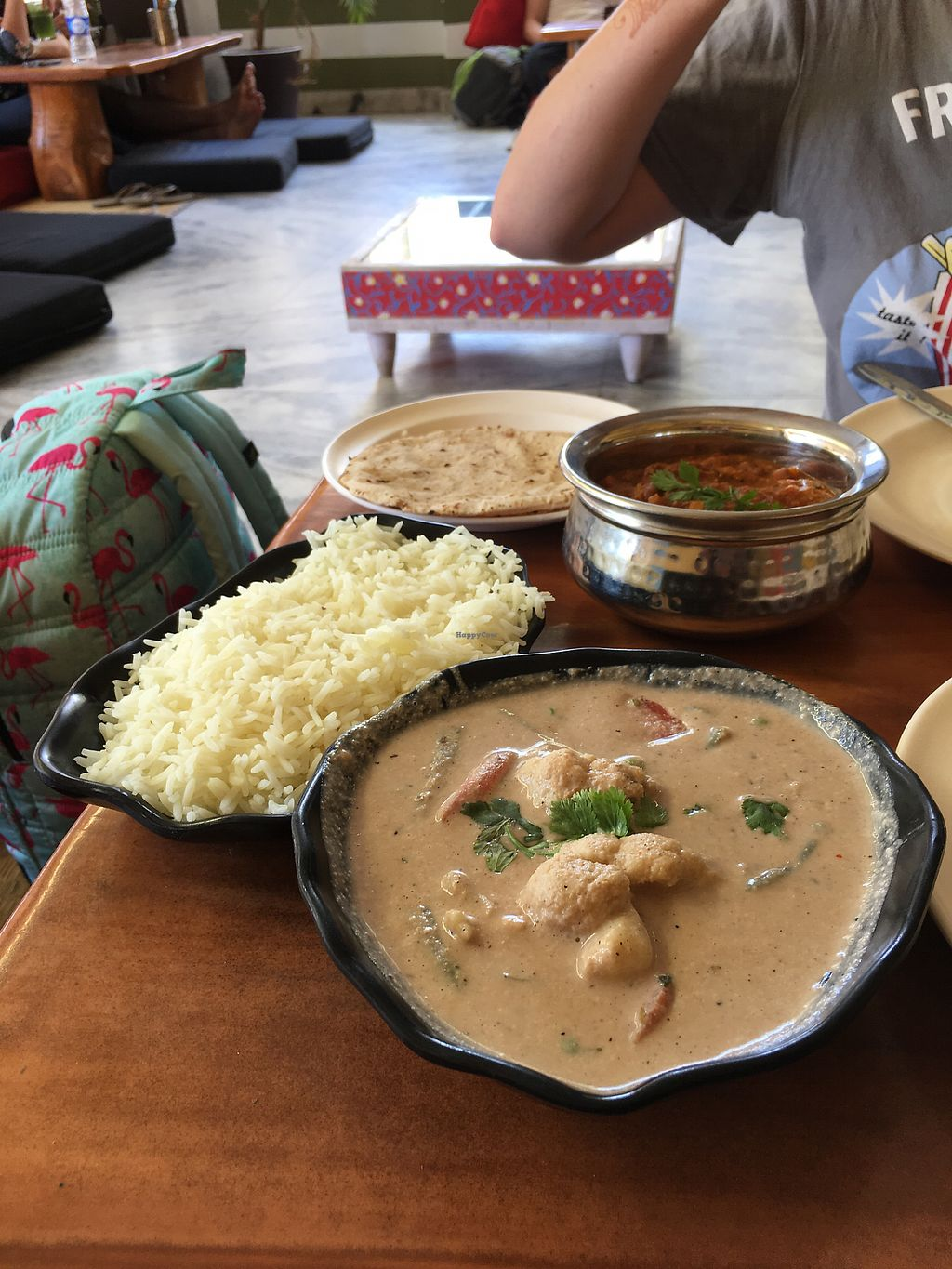 """Photo of Millets of Mewar  by <a href=""""/members/profile/CamilaSilvaL"""">CamilaSilvaL</a> <br/>Kidney bean curry (forgot the name) and a really tasteless peanut stew (darker the better) <br/> March 6, 2018  - <a href='/contact/abuse/image/30697/367490'>Report</a>"""