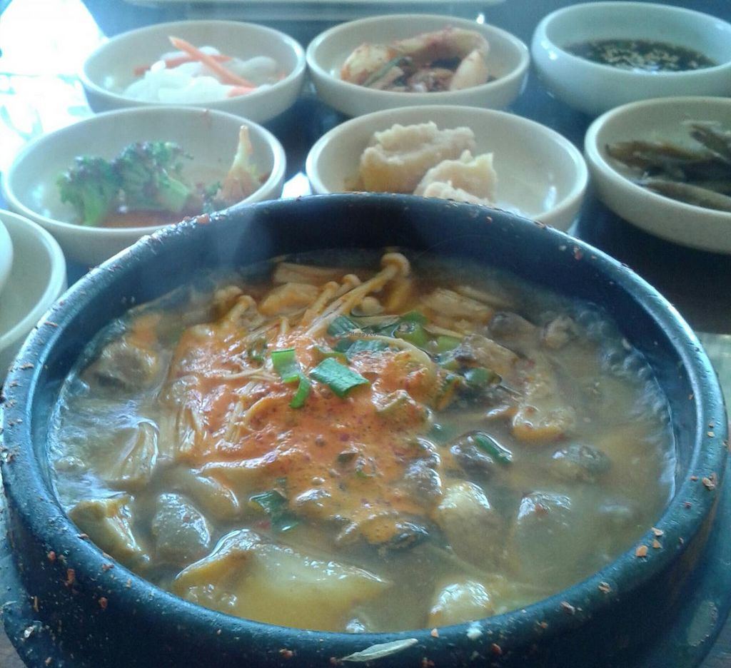 "Photo of Sura Korean BBQ and Tofu  by <a href=""/members/profile/chobesoy"">chobesoy</a> <br/>mushroom tofu soup with unlimited sides <br/> September 26, 2014  - <a href='/contact/abuse/image/30699/81166'>Report</a>"