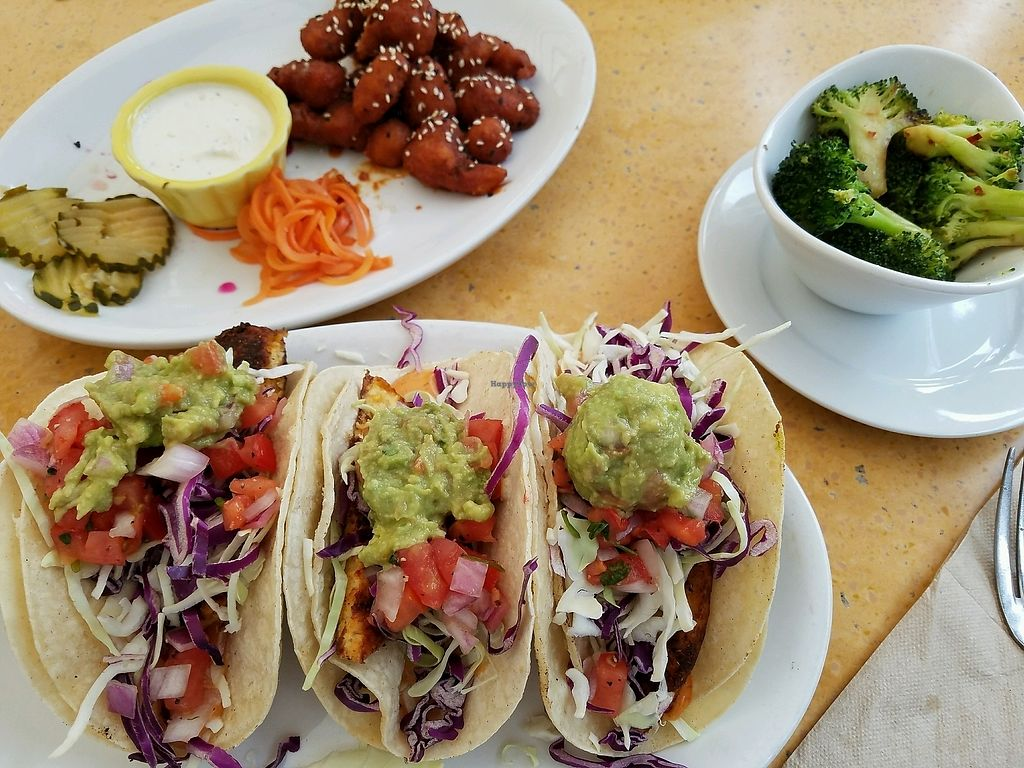 "Photo of Native Foods - Costa Mesa  by <a href=""/members/profile/Dark%26Stormy"">Dark&Stormy</a> <br/>tacos, spicy cauliflower bites, and seasoned broccoli! yum! <br/> December 5, 2017  - <a href='/contact/abuse/image/3075/332559'>Report</a>"
