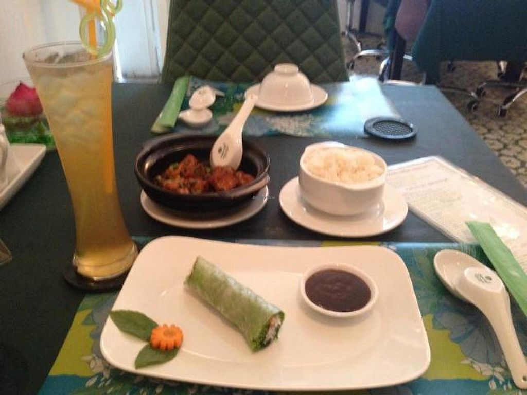"""Photo of The Organic Vegetarian Restaurant  by <a href=""""/members/profile/Kimxula"""">Kimxula</a> <br/>mushroom and tofu clay pot, spring roll and honey lemon tea <br/> May 19, 2014  - <a href='/contact/abuse/image/30776/70247'>Report</a>"""