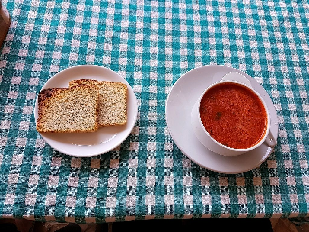 """Photo of Capital Organic Vegetarian Restaurant  by <a href=""""/members/profile/VeganVic89"""">VeganVic89</a> <br/>Tomato soup with bread (vegan) <br/> April 16, 2018  - <a href='/contact/abuse/image/30778/386696'>Report</a>"""