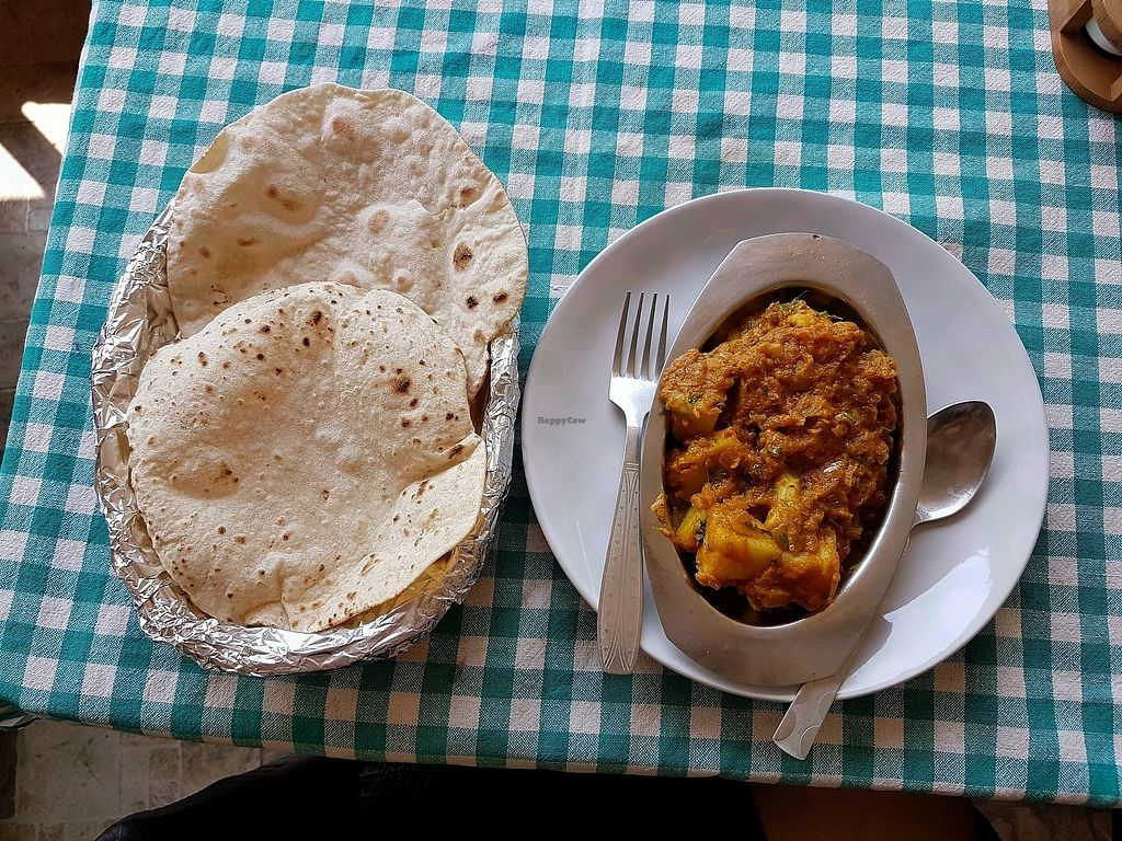 """Photo of Capital Organic Vegetarian Restaurant  by <a href=""""/members/profile/VeganVic89"""">VeganVic89</a> <br/>Aloo Gobi curry with roti bread (no ghee, vegan) <br/> April 16, 2018  - <a href='/contact/abuse/image/30778/386697'>Report</a>"""