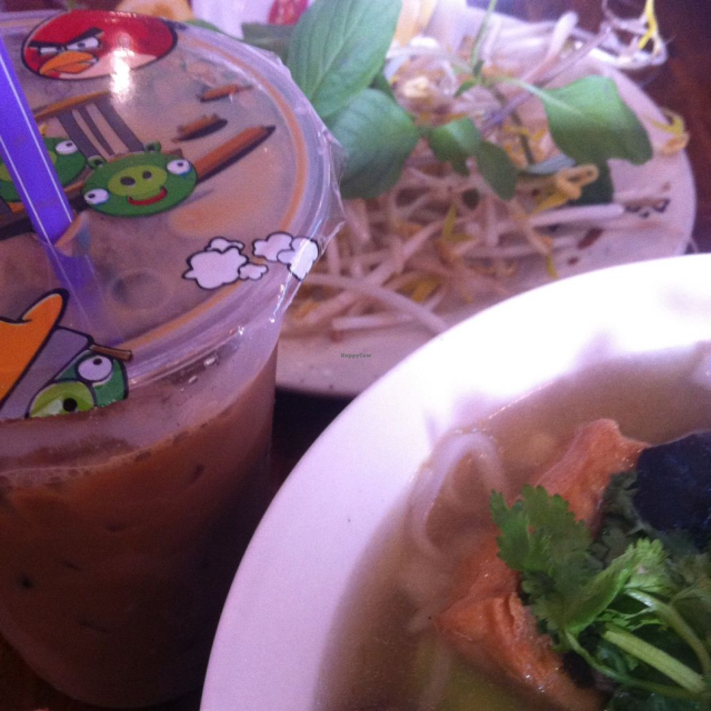 """Photo of Fina's Vegetarian Cafe  by <a href=""""/members/profile/beancurdled"""">beancurdled</a> <br/>vegan iced coffee and pho chay  <br/> January 23, 2016  - <a href='/contact/abuse/image/30807/133463'>Report</a>"""