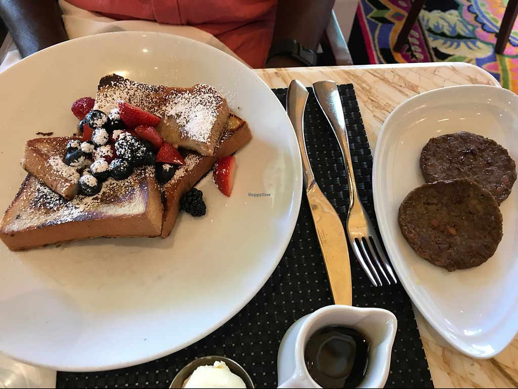 """Photo of Wynn Hotel - Terrace Pointe Cafe  by <a href=""""/members/profile/BrittanyLewis"""">BrittanyLewis</a> <br/>French Toast and side sausage <br/> May 28, 2017  - <a href='/contact/abuse/image/30823/263215'>Report</a>"""