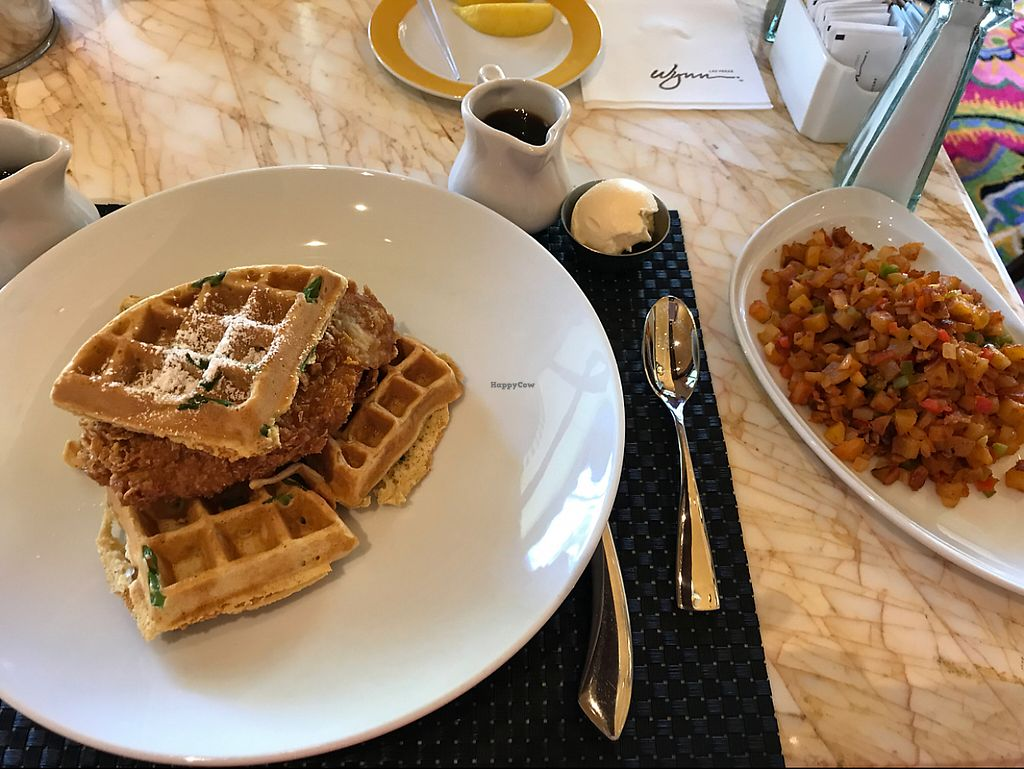 """Photo of Wynn Hotel - Terrace Pointe Cafe  by <a href=""""/members/profile/BrittanyLewis"""">BrittanyLewis</a> <br/>Chicken and Waffles and Potatoes <br/> May 28, 2017  - <a href='/contact/abuse/image/30823/263216'>Report</a>"""