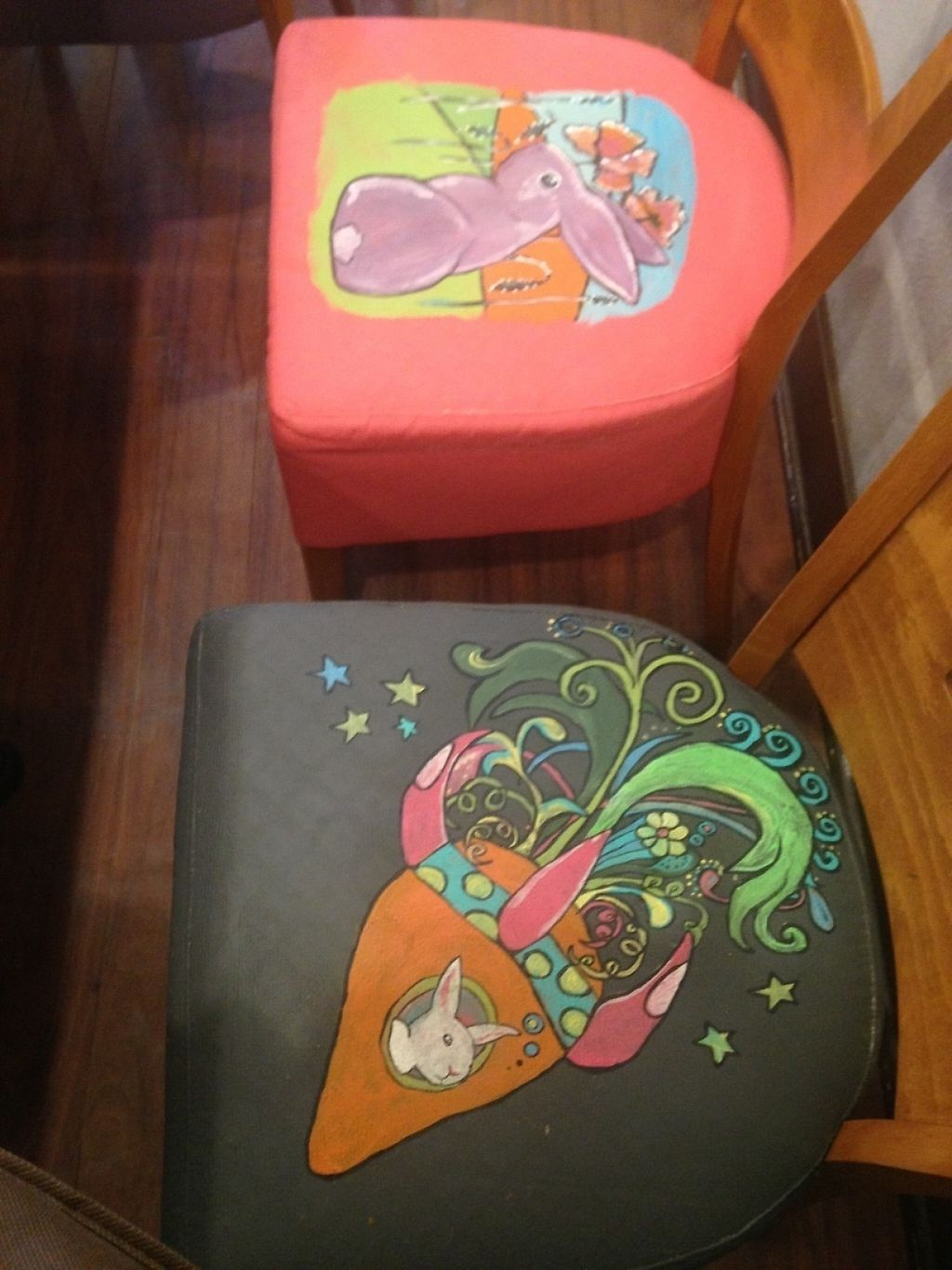 """Photo of The Clever Rabbit  by <a href=""""/members/profile/Mon7que"""">Mon7que</a> <br/>Each chair seat cover has a uniquely painted rabbit design by the owner Tessa! Lots of other beautiful artwork displayed in the restaurant also!  <br/> November 29, 2016  - <a href='/contact/abuse/image/30845/195638'>Report</a>"""