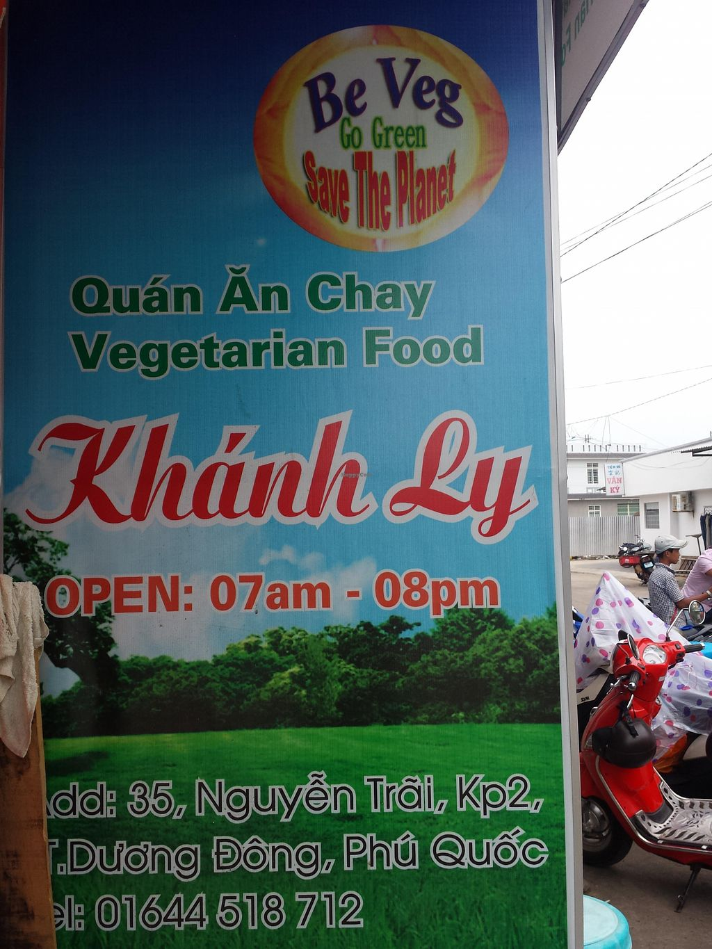 "Photo of Khanh Ly Vegetarian Food  by <a href=""/members/profile/Happymouse"">Happymouse</a> <br/>banner at the end of the street with opening hours <br/> August 1, 2015  - <a href='/contact/abuse/image/30846/111913'>Report</a>"