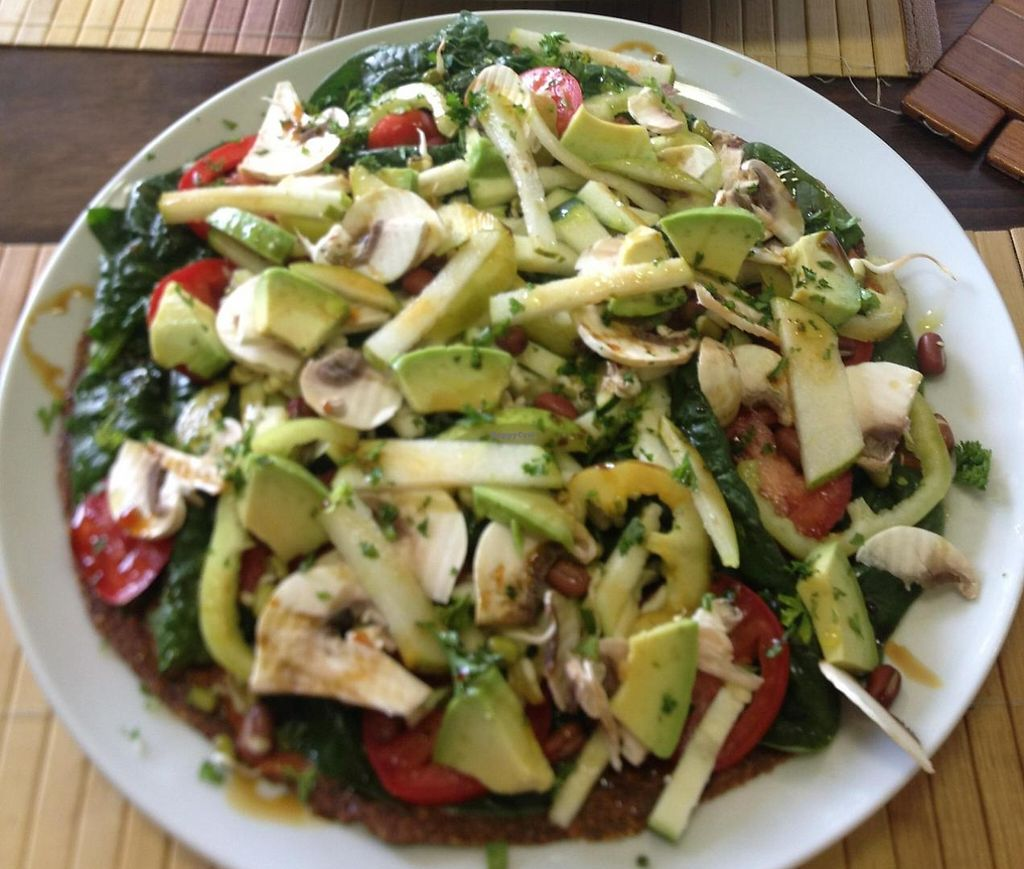 """Photo of Bemba  by <a href=""""/members/profile/NikuskaRawPassion"""">NikuskaRawPassion</a> <br/>Raw vegan pizza with lots of veggie (best I have ever had) and raw vegan bananas with filling <br/> June 1, 2015  - <a href='/contact/abuse/image/30861/243662'>Report</a>"""
