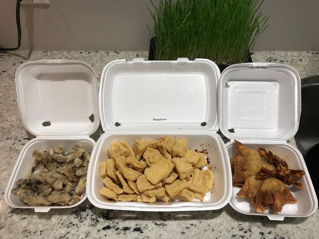 """Photo of Veggie Garden  by <a href=""""/members/profile/Madimassacre"""">Madimassacre</a> <br/>Shiitake mushrooms, spicy tofu and deep fried wontons.  <br/> December 30, 2017  - <a href='/contact/abuse/image/30876/340744'>Report</a>"""
