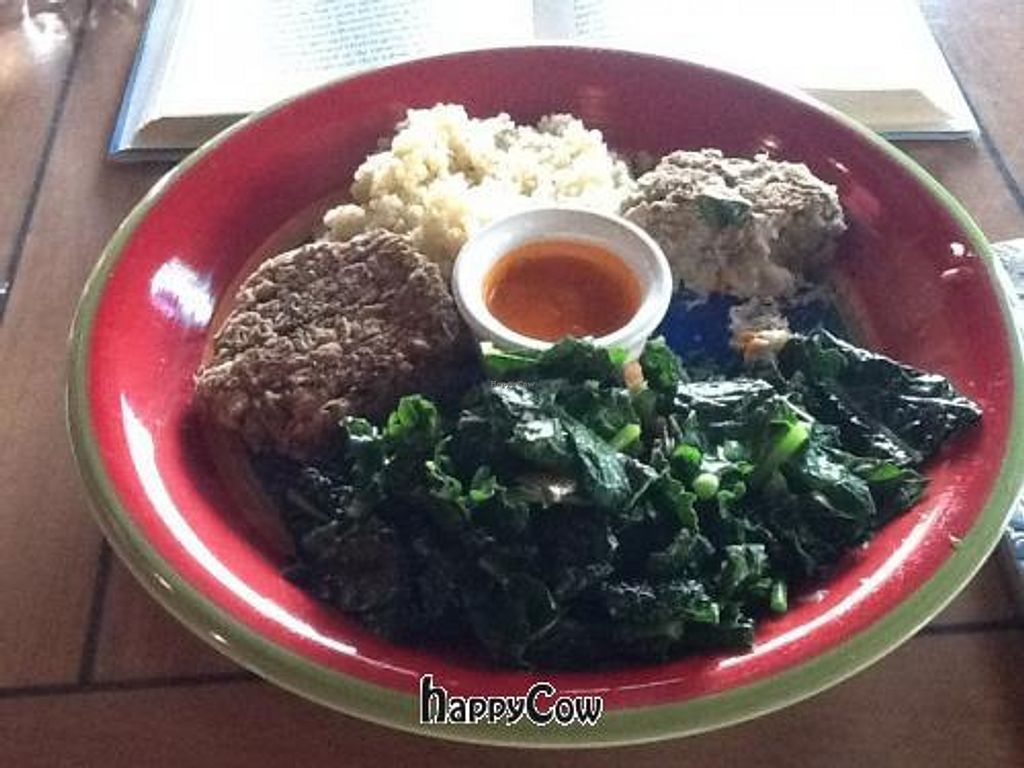 """Photo of CLOSED: Collage Foods  by <a href=""""/members/profile/Juliecookslmt"""">Juliecookslmt</a> <br/>Collette Cakes w red pepper sauce, quinoa & mixed greens sauteed in coconut oil! <br/> February 15, 2013  - <a href='/contact/abuse/image/30922/44238'>Report</a>"""