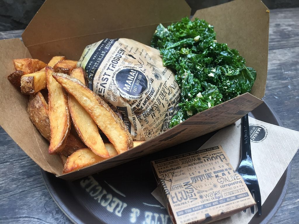 """Photo of Mana! Fast Slow Food  by <a href=""""/members/profile/SamanthaIngridHo"""">SamanthaIngridHo</a> <br/>Babylon burger combo (with kale salad and potato fries) <br/> April 11, 2018  - <a href='/contact/abuse/image/30930/384076'>Report</a>"""