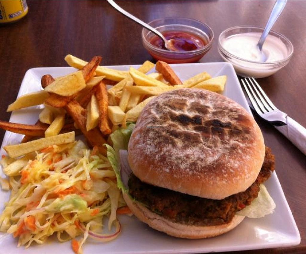 "Photo of CLOSED: Bean and Gone Cafe  by <a href=""/members/profile/PalHetland"">PalHetland</a> <br/>Vegan burger and sauces <br/> August 19, 2014  - <a href='/contact/abuse/image/30953/77441'>Report</a>"