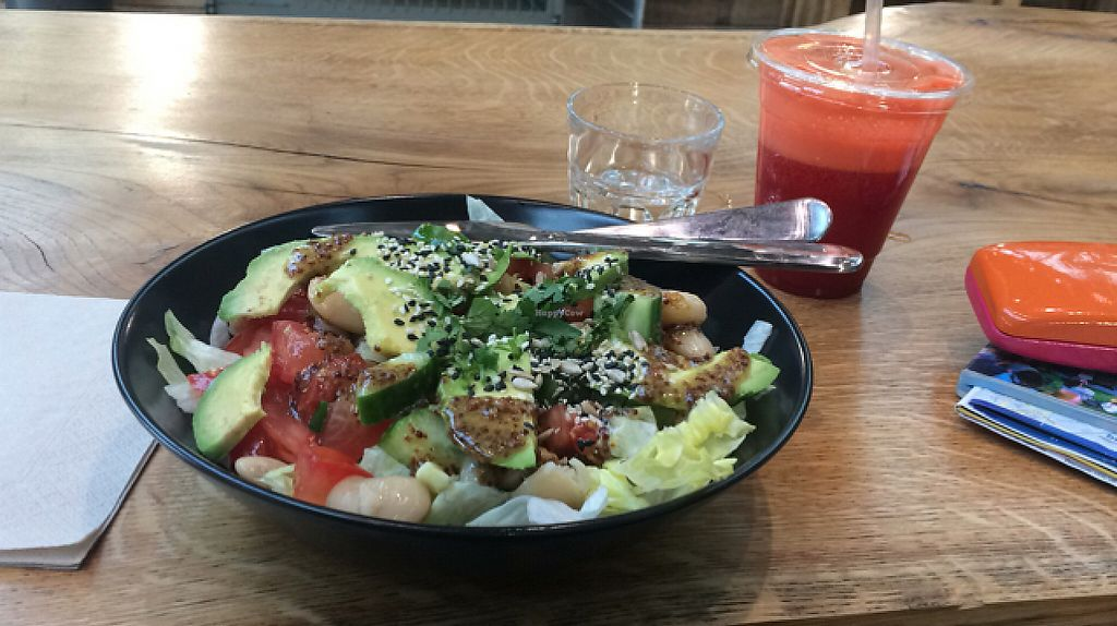 """Photo of Funk You Natural Food  by <a href=""""/members/profile/misoginger"""">misoginger</a> <br/>bean and avocado salad with fire starter juice <br/> May 11, 2017  - <a href='/contact/abuse/image/30960/257952'>Report</a>"""