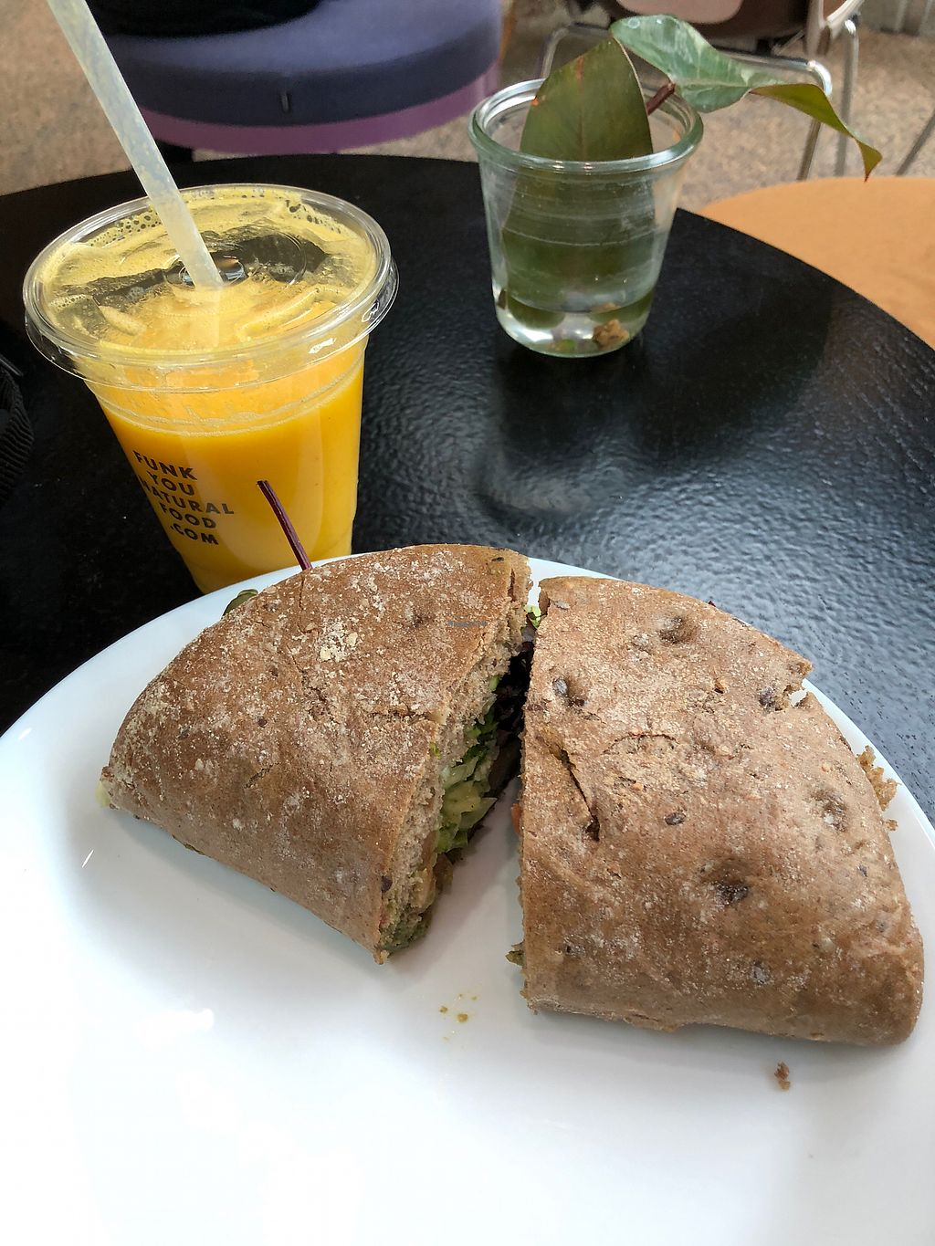 """Photo of Funk You Natural Food  by <a href=""""/members/profile/Marta_CG"""">Marta_CG</a> <br/>Berlin beach juice and sensation sandwich  <br/> February 22, 2018  - <a href='/contact/abuse/image/30960/362381'>Report</a>"""
