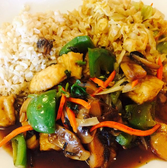 "Photo of Bodhi Tree Vegetarian Cafe  by <a href=""/members/profile/Vegeterin"">Vegeterin</a> <br/>sweet chili basil soy chicken with brown rice & chowmein noodles <br/> October 21, 2016  - <a href='/contact/abuse/image/3101/183298'>Report</a>"