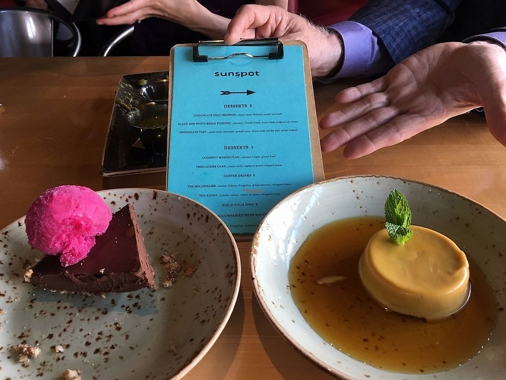 """Photo of Sunspot  by <a href=""""/members/profile/CColors"""">CColors</a> <br/>Chocolate Tart with Prickly Pear Sorbet  &  Coconut Mango Flan with caramel.  Both were very delicious!   <br/> April 24, 2017  - <a href='/contact/abuse/image/3103/251865'>Report</a>"""