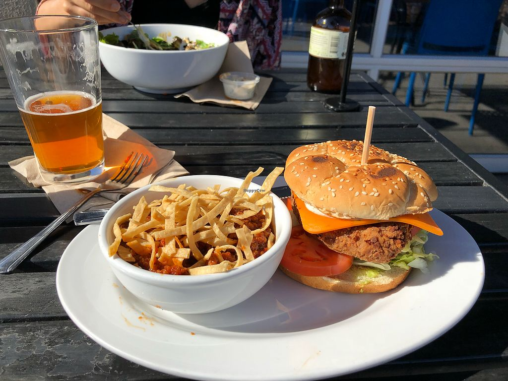 """Photo of Green New American Vegetarian  by <a href=""""/members/profile/oskeewowwow"""">oskeewowwow</a> <br/>BFF chick'n sandwich with vegan chili  <br/> November 22, 2017  - <a href='/contact/abuse/image/31065/328159'>Report</a>"""