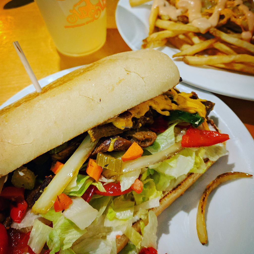 """Photo of Green New American Vegetarian  by <a href=""""/members/profile/Mtndarilia"""">Mtndarilia</a> <br/>Chicago cheese steak and animal fries <br/> April 19, 2018  - <a href='/contact/abuse/image/31065/388210'>Report</a>"""