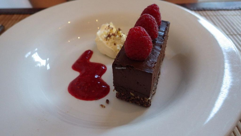 """Photo of The Bean Inn  by <a href=""""/members/profile/deadpledge"""">deadpledge</a> <br/>Dark Chocolate and Raspberry Mud Pie with clotted cream and raspberry coulis <br/> June 14, 2015  - <a href='/contact/abuse/image/3106/105881'>Report</a>"""