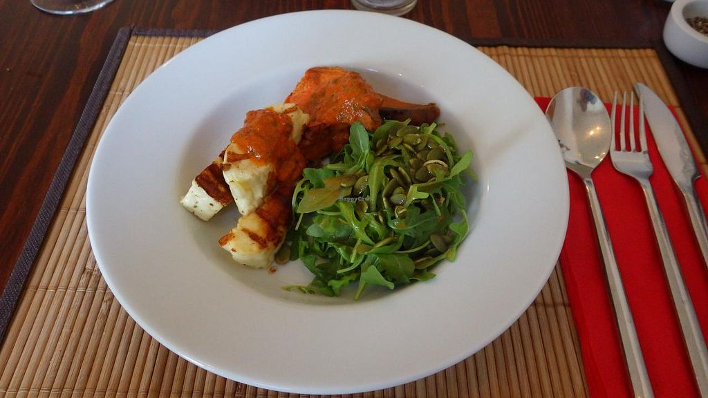 """Photo of The Bean Inn  by <a href=""""/members/profile/deadpledge"""">deadpledge</a> <br/>Griddled Halloumi with Sweet Potato Wedges served with a rocket & pumpkin seed salad and a fiery harissa sauce <br/> June 14, 2015  - <a href='/contact/abuse/image/3106/105883'>Report</a>"""
