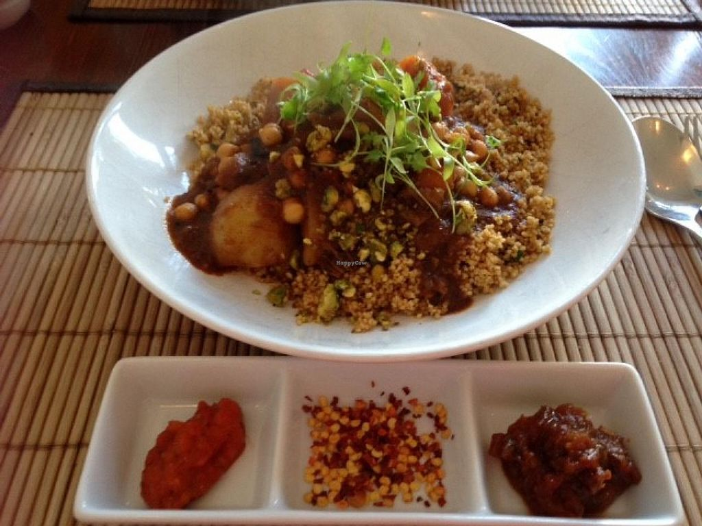"""Photo of The Bean Inn  by <a href=""""/members/profile/pdw96"""">pdw96</a> <br/>The Bean Inn - Moroccan Vegetable and Chick Pea Chermoula Casserole (EXCELLENT)    <br/> July 21, 2015  - <a href='/contact/abuse/image/3106/110403'>Report</a>"""